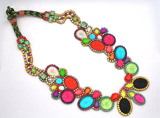 bright statement wedding necklace rainbow wedding colors- 2