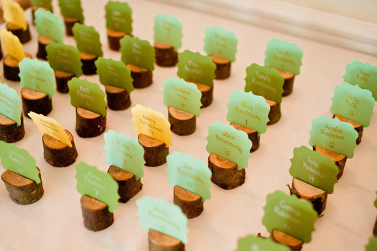 eco chic wedding reception escort cards