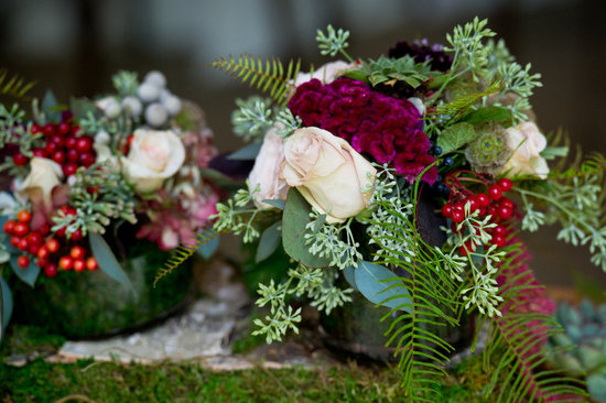 rustic fall wedding flowers reception centerpieces green maroon red ivory