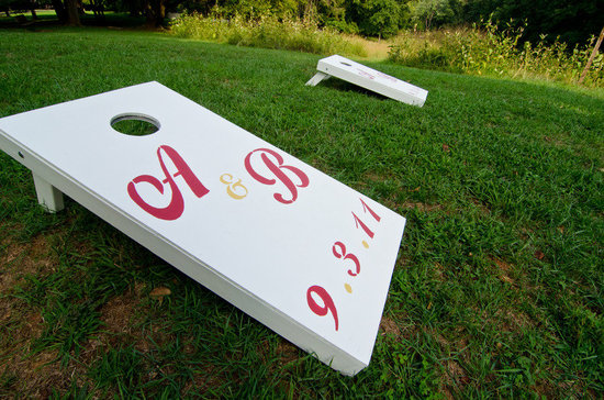 personalized wedding details monogrammed cornhole bags game