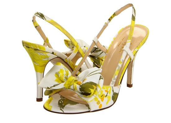 yellow green wedding shoes floral print Kate Spade bridal heels