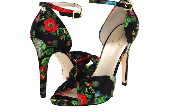 Black and red floral printed wedding shoes
