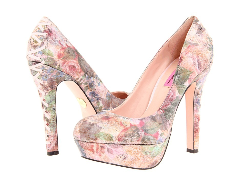 Pink High Heels For Wedding: Sparkly Pink Wedding Shoes Floral Printed Bridal Heels