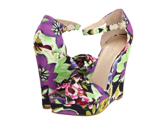purple green wedding shoes floral wedges by nine west