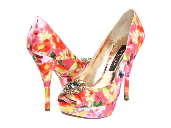 photo of Pink and orange floral wedding shoes by Nina
