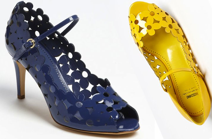 Floral-motif-wedding-shoes-moschino-cheap-chic-navy-yellow-bridal-heels-flats.full