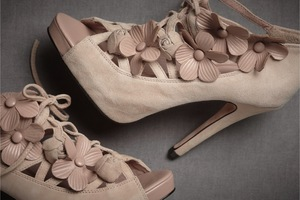 photo of Blush pink bridal booties