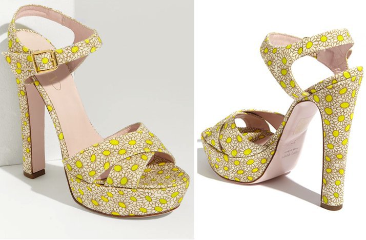 Floral Print Wedding Shoes Bridal Heels With Ankle Strap Yellow Nude