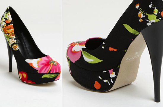 photo of Black floral wedding shoes
