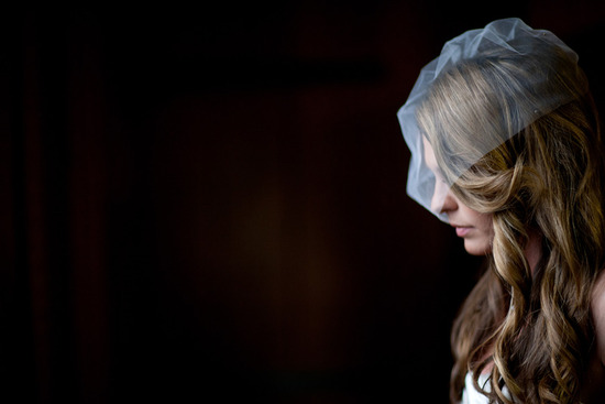 all down wedding hair loose waves with birdcage bridal veil