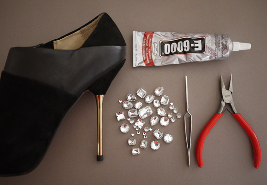 photo of DIY wedding project Miu Miu bridal pumps crystal encrusted heels 2