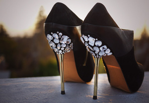 photo of DIY wedding project Miu Miu bridal pumps crystal encrusted heels 5