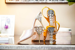 photo of DIY wedding project Miu Miu bridal pumps crystal encrusted heels 1