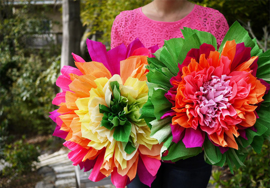 photo of colorful wedding DIY project reception decor crepe paper flowers 1