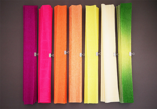 photo of colorful wedding DIY project reception decor crepe paper flowers 5