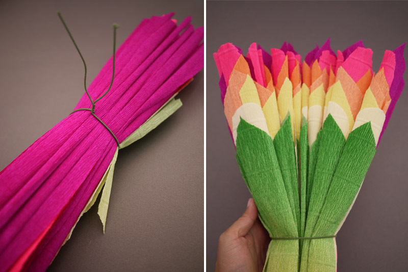 colorful wedding DIY project reception decor crepe paper flowers 8