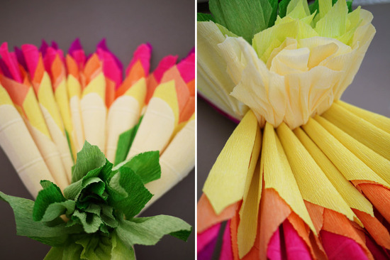 photo of colorful wedding DIY project reception decor crepe paper flowers 10