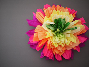 photo of colorful wedding DIY project reception decor crepe paper flowers 13