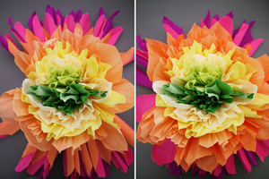 photo of colorful wedding DIY project reception decor crepe paper flowers 12