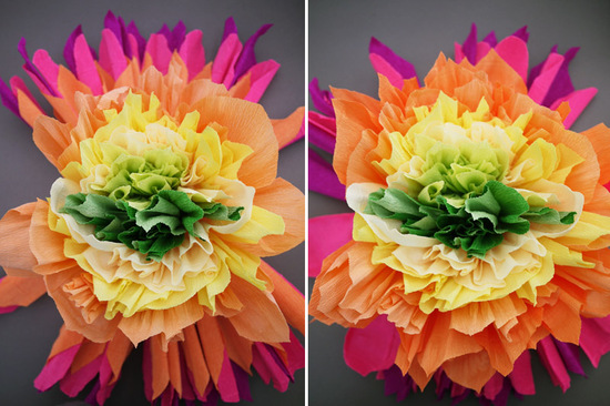 colorful wedding DIY project reception decor crepe paper flowers 12