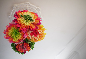 photo of colorful wedding DIY project reception decor crepe paper flowers 14