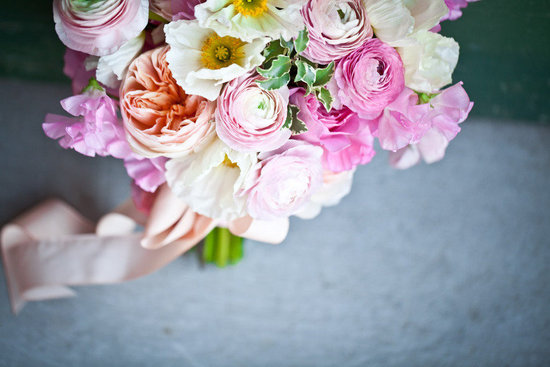 bridal bouquet romantic yellow pink white