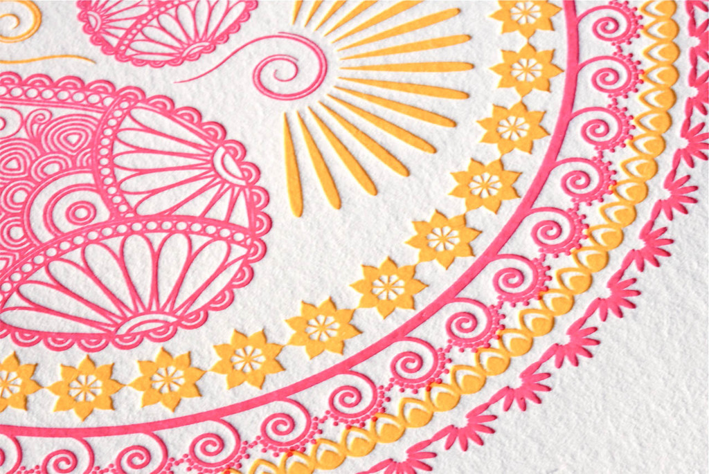Indian Design Letterpress Wedding Invitations raspberry lemonade