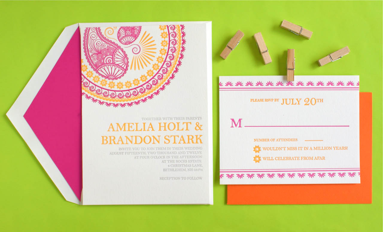 Wedding Invitation In Hindi: Indian Design Letterpress Wedding Invitations5