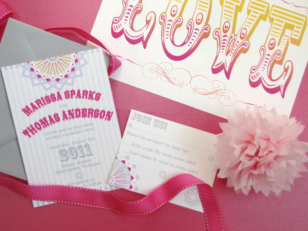 love themed wedding invitations vintage carnival wedding reception