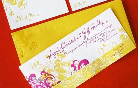 raspberry white yellow wedding invitations elegant wedding stationery 2