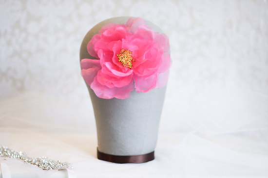vintage wedding hair accessories pink hair flower yellow center