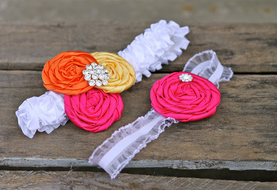 handmade bridal garter orange pink yellow wedding colors