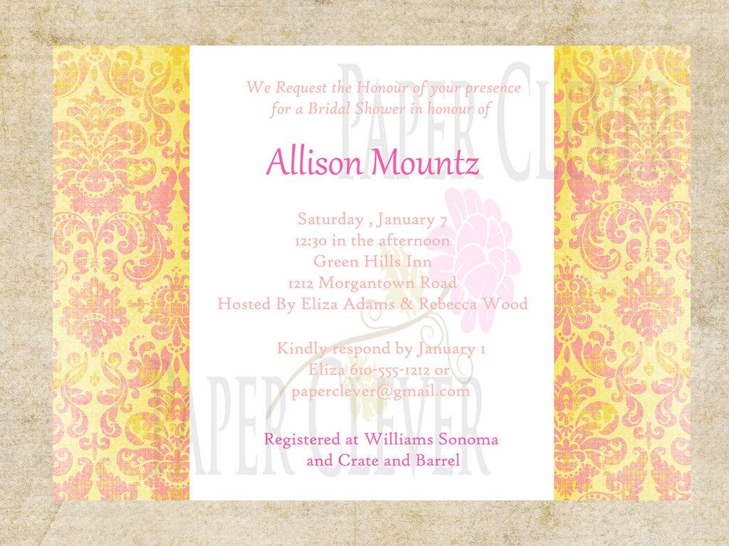 shower wedding invitation yellow pink damask