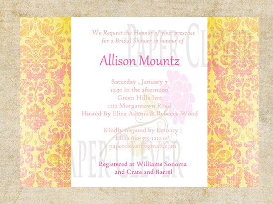 photo of Pink and yellow bridal shower invite