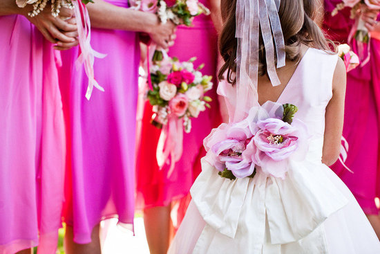 mix match pink bridesmaids dresses flower girl dress with floral sash