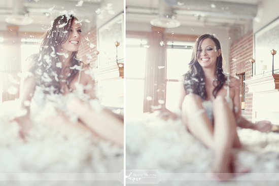 romantic wedding photography boudoir bridal shoot pillow fight