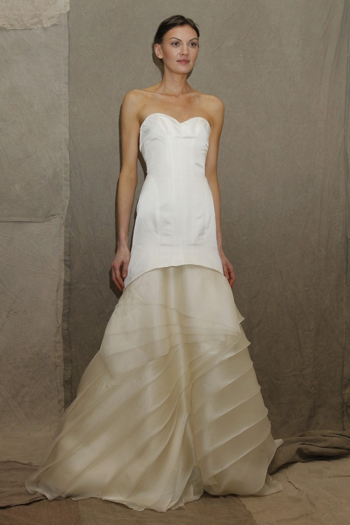 wedding dress trend Lela Rose bridal gown two tone