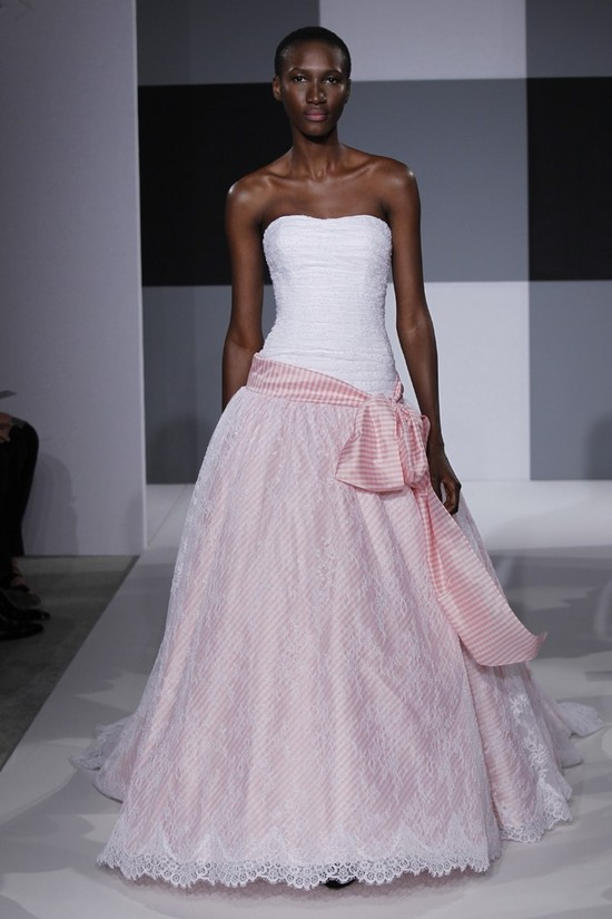 2013 wedding dress trend Issac Mizrahi bridal gown two tone blush pink white with striped sash