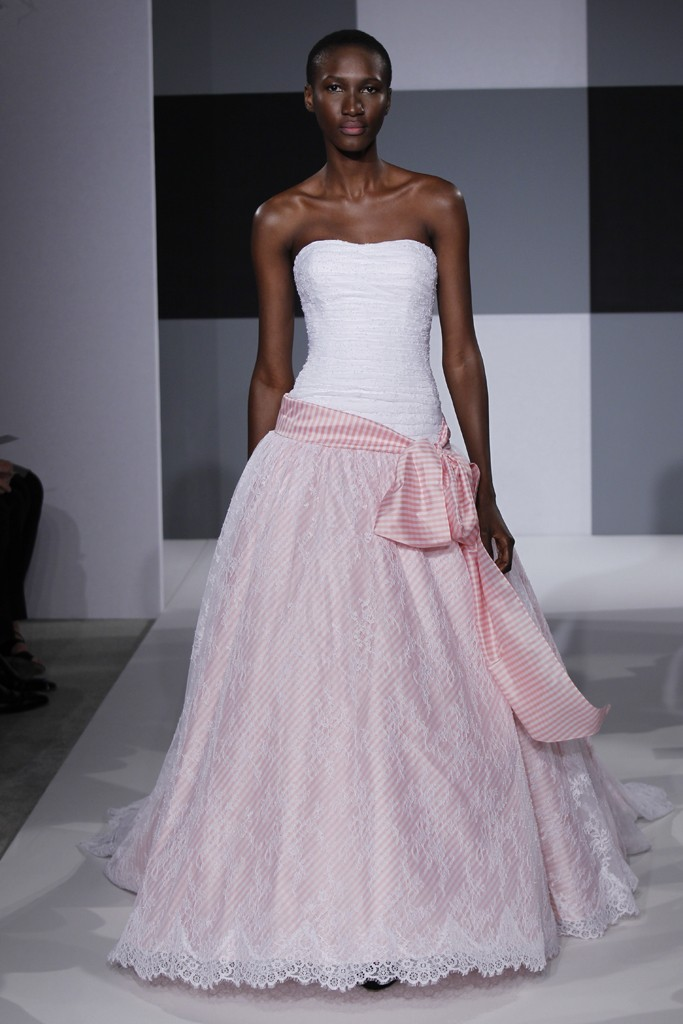 2013 wedding dress trend issac mizrahi bridal gown two for Wedding dresses white and pink