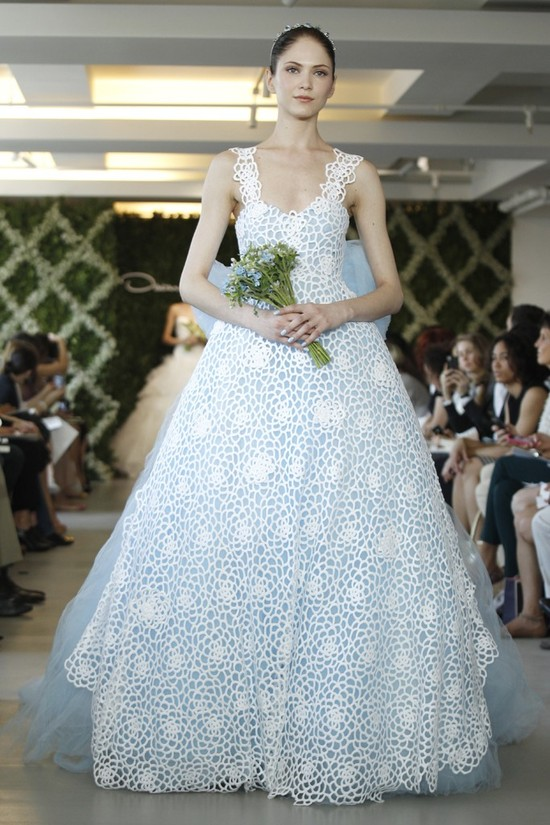 2013 wedding dress trend two tone bridal gowns floral ivory lace light blue tulle