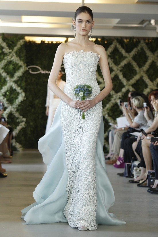 2013 wedding dress trend two tone bridal gowns light gray blue ivory lace overlay Oscar de la Renta