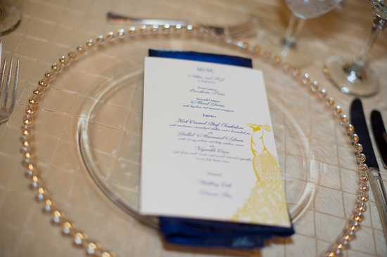 navy yellow wedding reception place setting