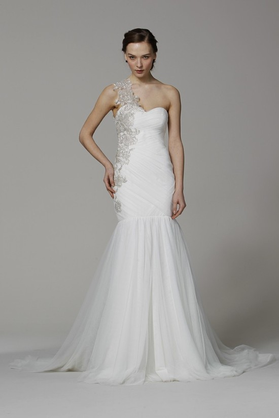 Marchesa wedding dress Spring 2013 bridal gowns one shoulder mermaid