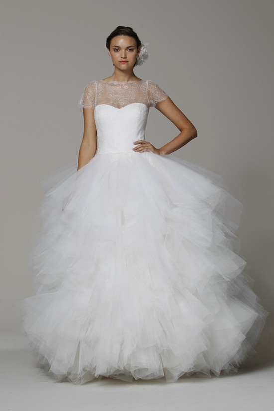 Marchesa wedding dress Spring 2013 bridal gowns tulle ballgown cap sleeves