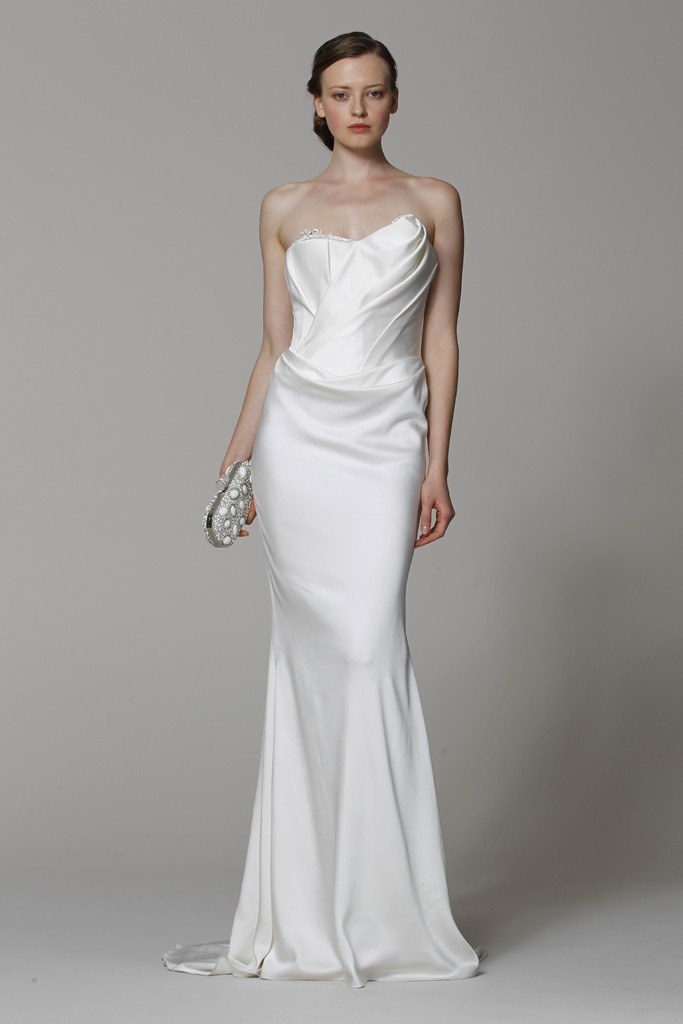 marchesa wedding dress spring 2013 bridal gowns silk column onewed