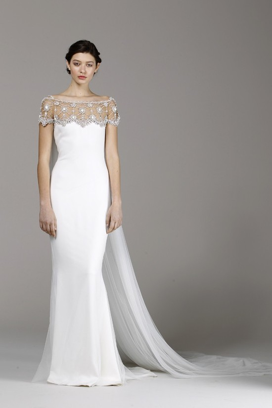 Marchesa wedding dress Spring 2013 bridal gowns off shoulder sheer beaded