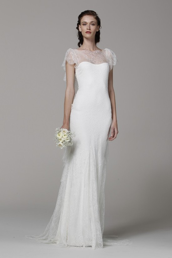Marchesa wedding dress Spring 2013 bridal gowns lace illusion neckline