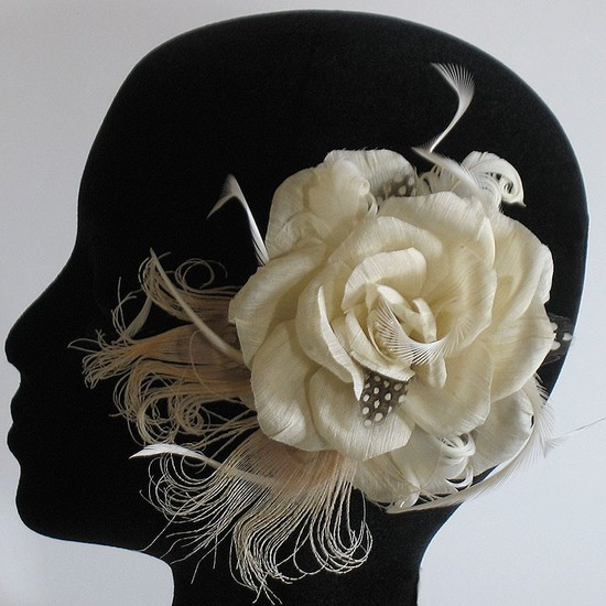photo of Eco hemp wedding hair flower