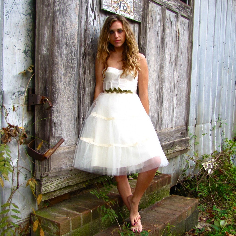 hemp silk charmeause little white wedding dress reception frock