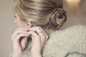 photo of simple ballerina bun wedding hairstyle